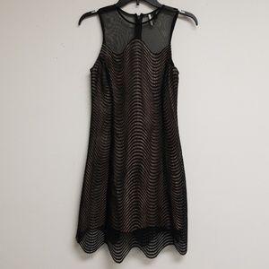 Topshop Black Mesh A-line Dress Size 2